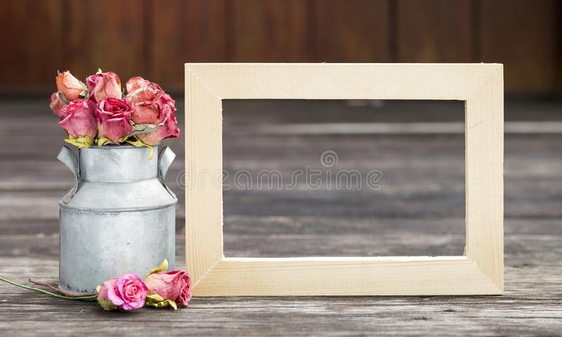 Blank Wooden Frame With Rose Paper Stock Image - Image of clean ...