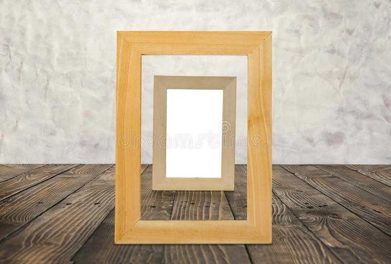 Download Blank Wooden Frames On The Brown Wood Floor. Stock Photo - Image of display, frames: 111619086