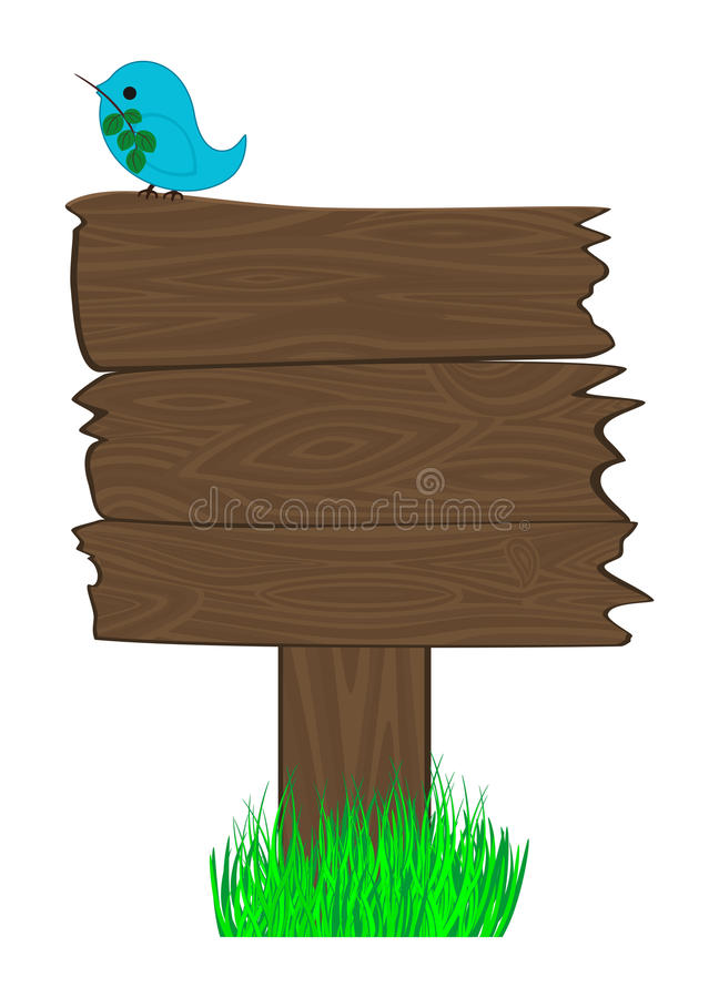 Download Blank Wooden Sign And Bird On It Stock Vector - Image: 12467495