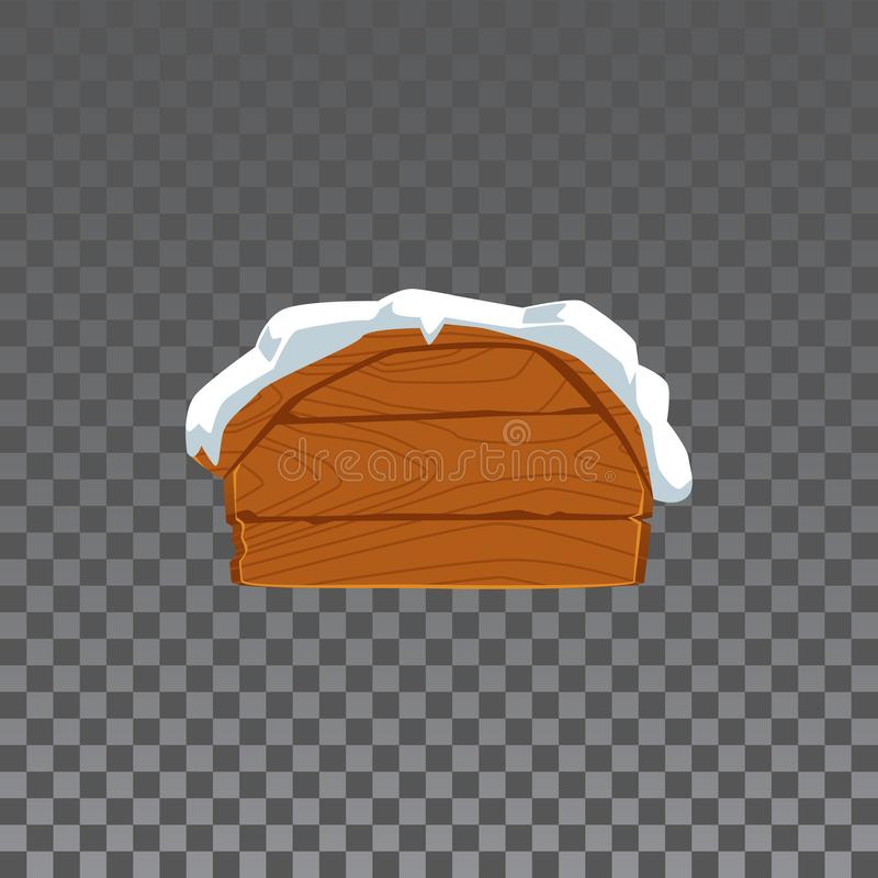Blank wooden sign board with snow cap isolated on transparent background stock illustration