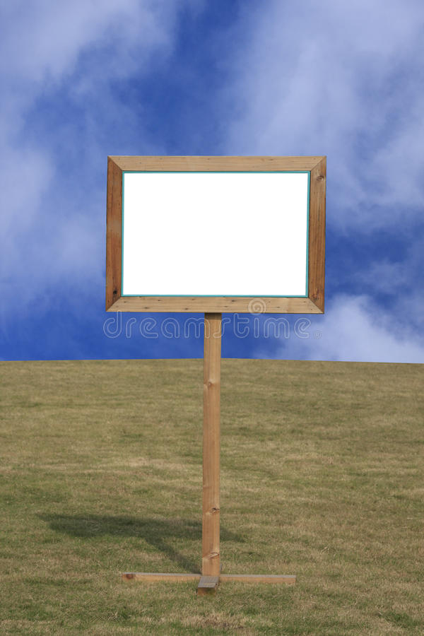 Blank Wooden Sign Post On Grass Stock Illustration ...