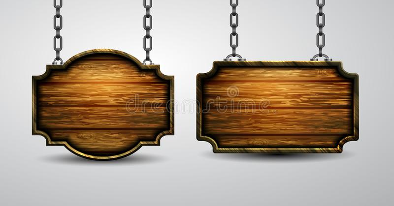 Blank wooden signboard hanging on chain isolated on white background. Blank wooden signboard hanging on chain set isolated on white background. Vector vector illustration