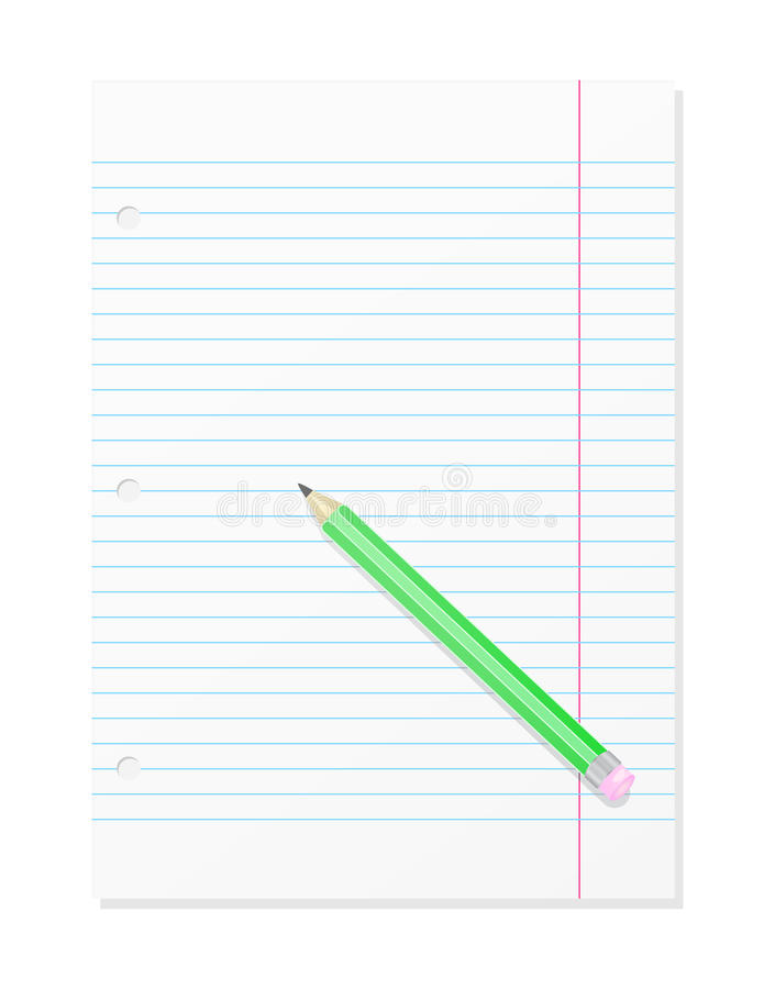 Blank Workbook Page With Pencil vector illustration