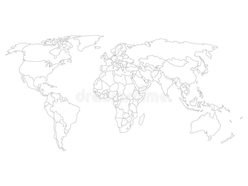 Blank world map with thin black smooth country borders on white download blank world map with thin black smooth country borders on white background stock vector gumiabroncs Images