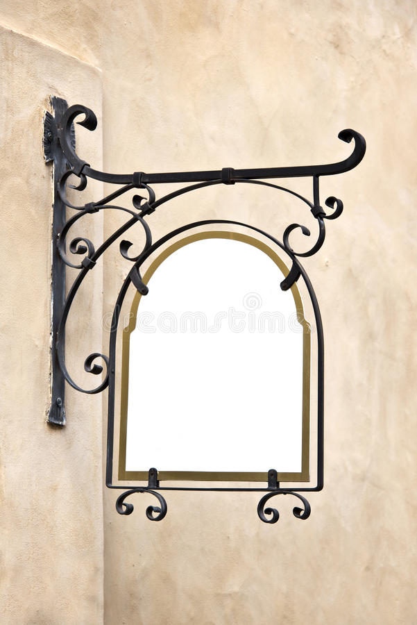 Blank wrought iron old sign stock photography