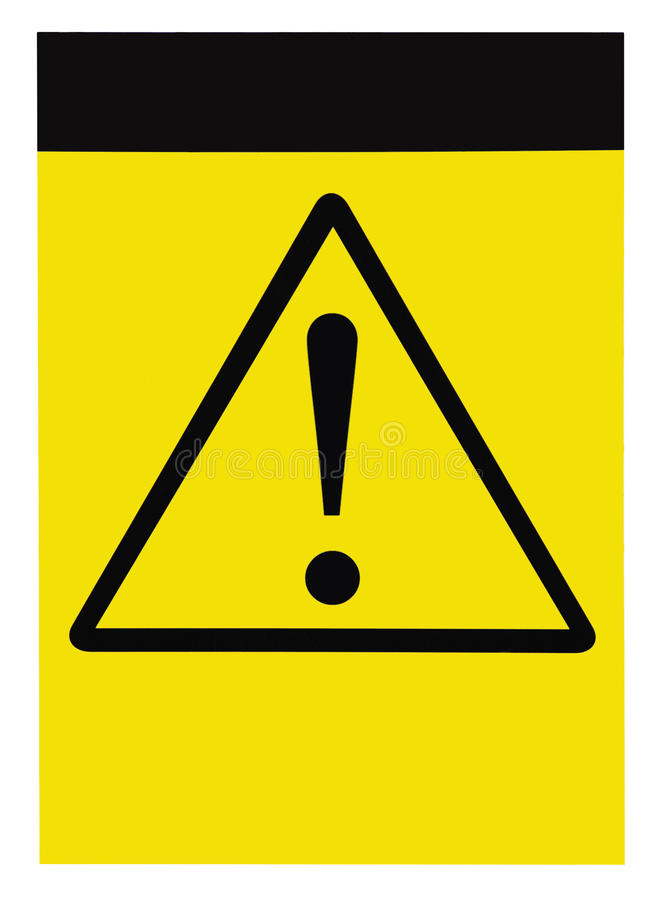 Blank yellow black triangle general caution danger warning attention sign, isolated, large detailed vertical signage copy space royalty free stock image