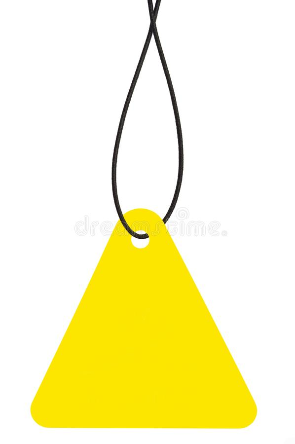 Blank Yellow Cardboard Sale Tag And String, Empty Price Label Triangle Badge Background, Vertical Hanging Isolated Macro Closeup. Large Detailed Triangular stock photo