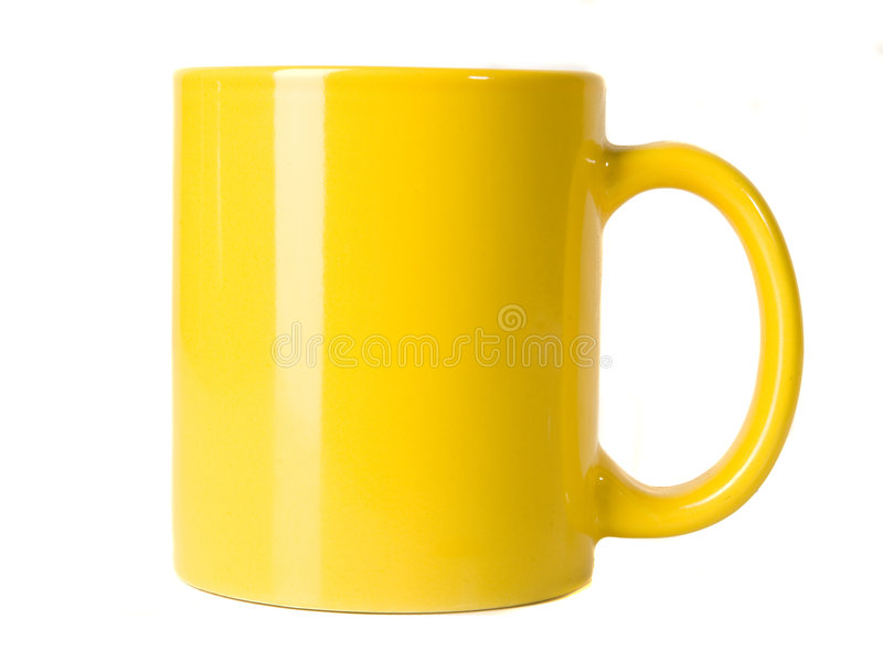 Blank yellow cup stock image