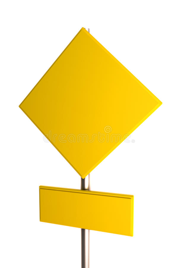 Blank yellow road sign royalty free illustration