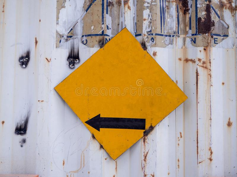 Blank yellow road sign or Empty traffic signs on white background. The Blank yellow road sign or Empty traffic signs on white background royalty free stock photo