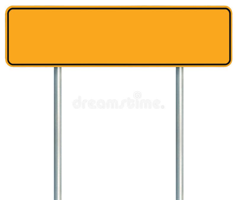 Blank Yellow Road Sign, Isolated Large Warning Copy Space, Black Stock Image