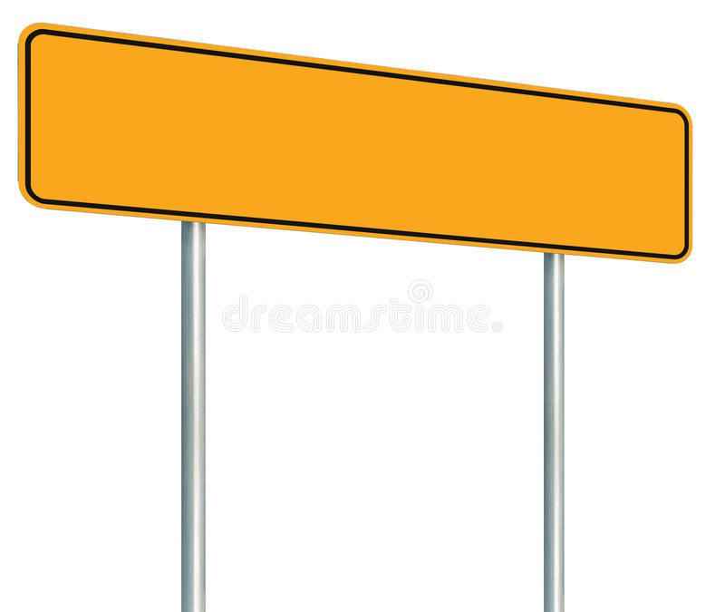 Blank Yellow Road Sign, Isolated Large Warning Copy Space, Black Frame Roadside Signpost Signboard Pole Post Empty Traffic Signage stock photo
