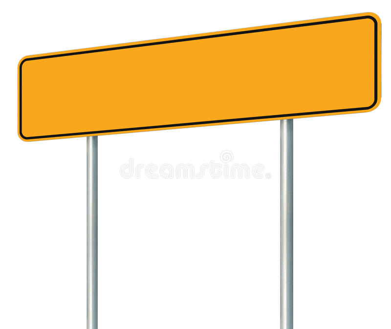 Blank Yellow Road Sign, Isolated Large Warning Copy Space, Black Frame Roadside Signpost Signboard Pole Post Empty Traffic Signage royalty free stock photos