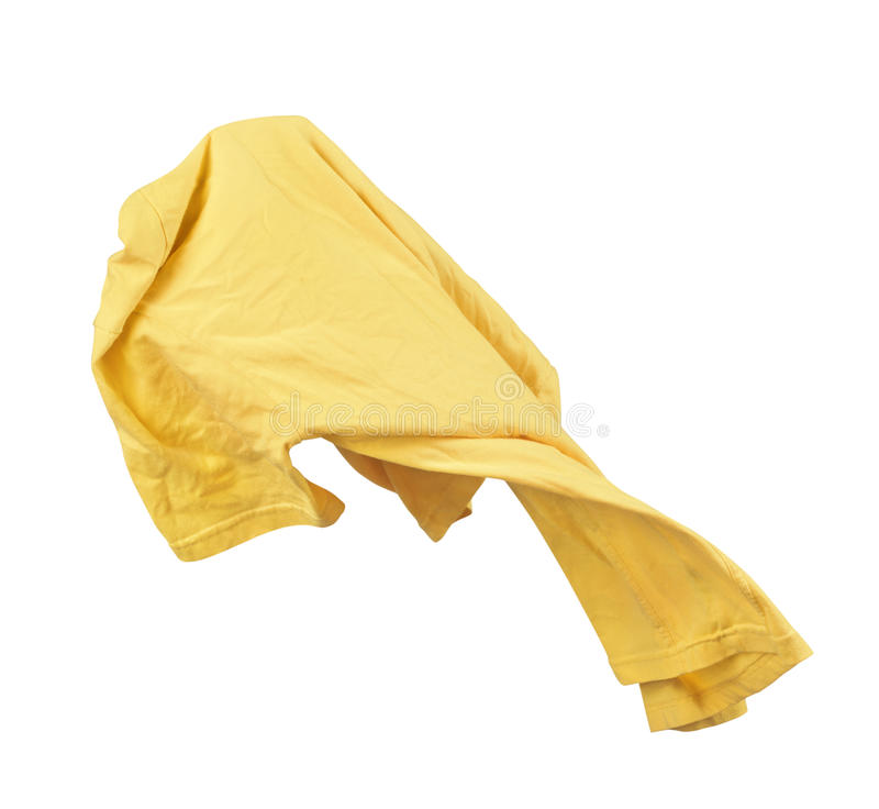 Blank yellow shirt are falling through the air stock photos