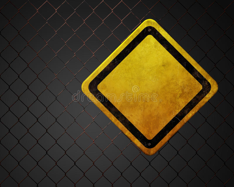 Blank yellow sign. Grunge empty warning sign at chainlink fence stock illustration