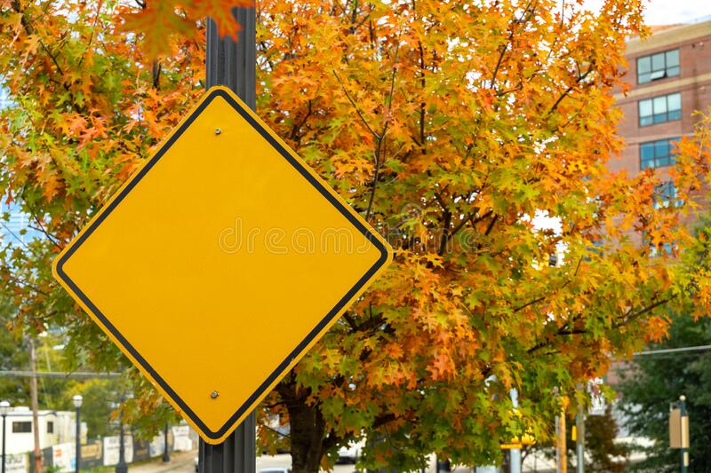 Blank yellow street sign for mockup royalty free stock photo