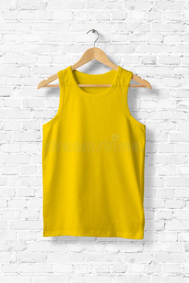 Blank Yellow Tank Top Mock-up hanging on white wall. vector illustration