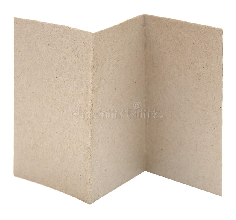 Blank zig zag folded flyer. On white royalty free stock photo