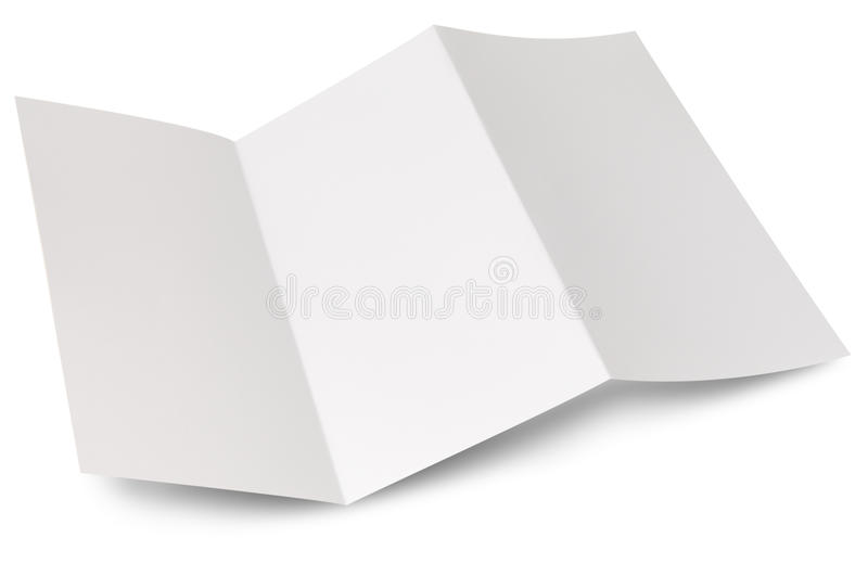 Blank zigzag folded flyer. Ready for your own design stock photos