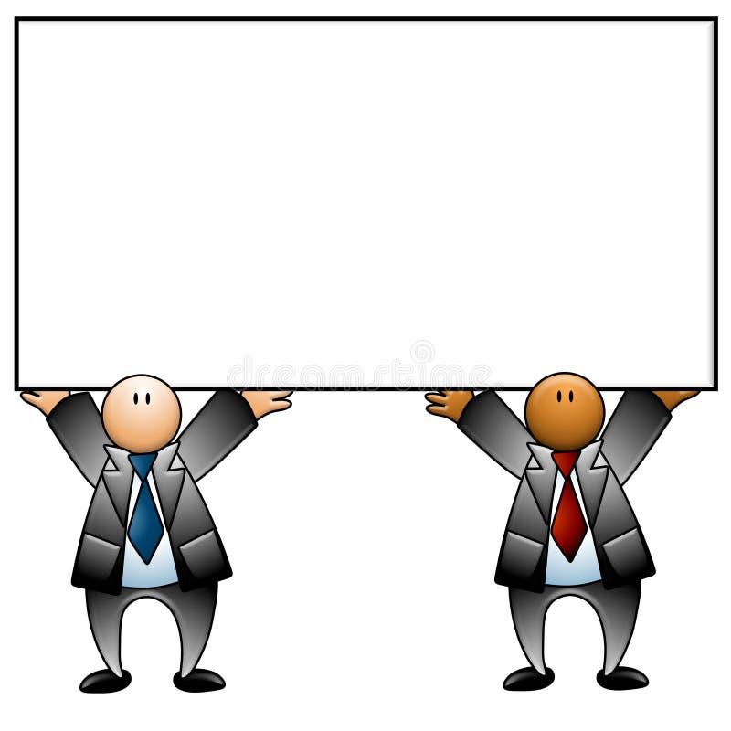 blanka affärsmän som rymmer tecknet stock illustrationer