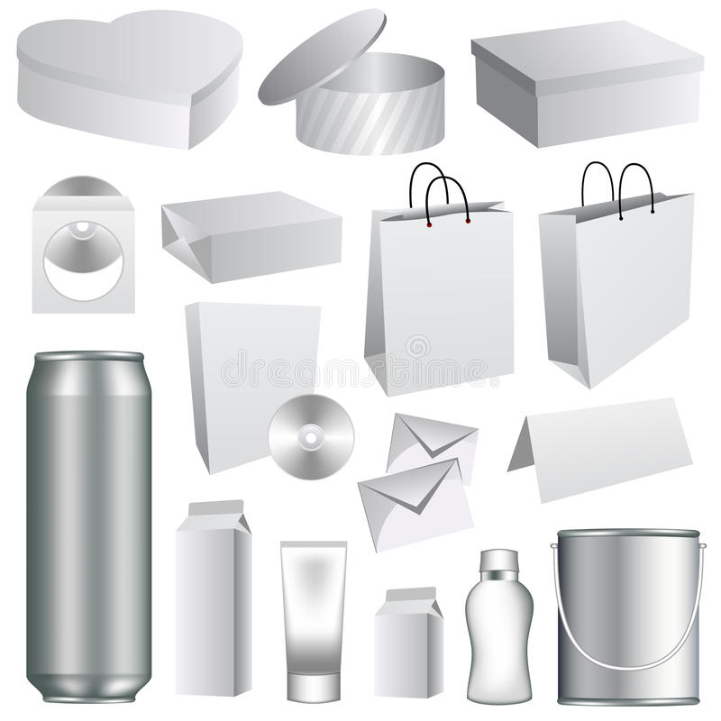 blanka emballage mallar vektor illustrationer