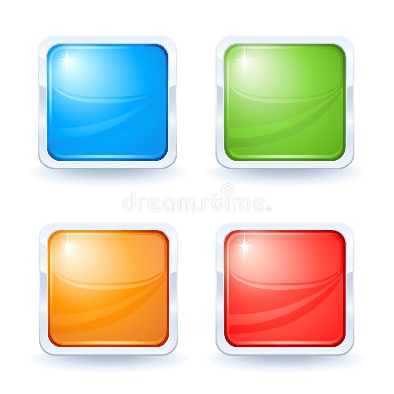 blanka knappar fyra royaltyfri illustrationer