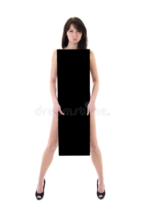 Blanke Frau mit schwarzer Anschlagtafel stockbilder
