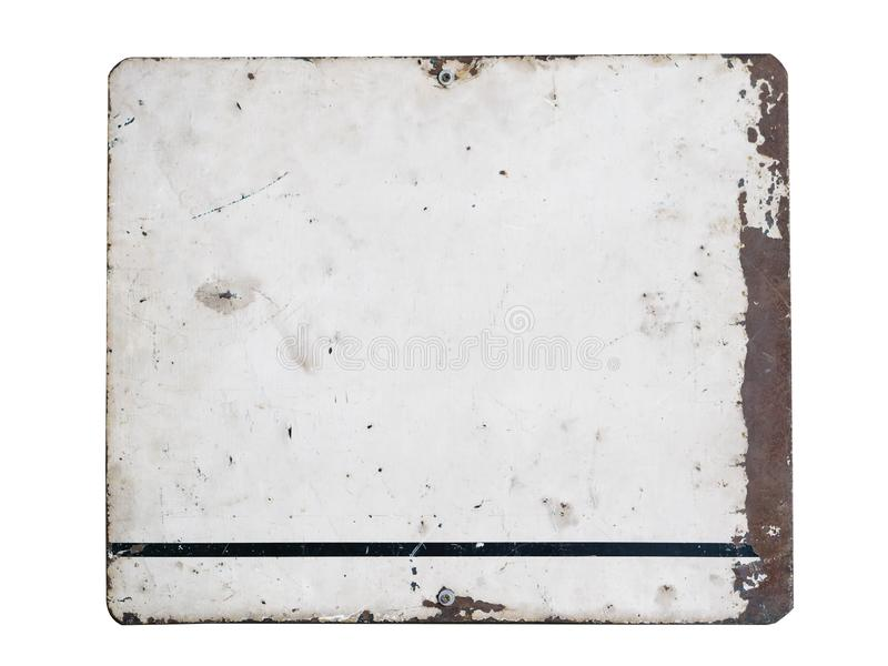 Blanked roestte retro plaat van het staaluithangbord op witte achtergrond wordt geïsoleerd die Roestige plaat met kader en grunge stock foto's