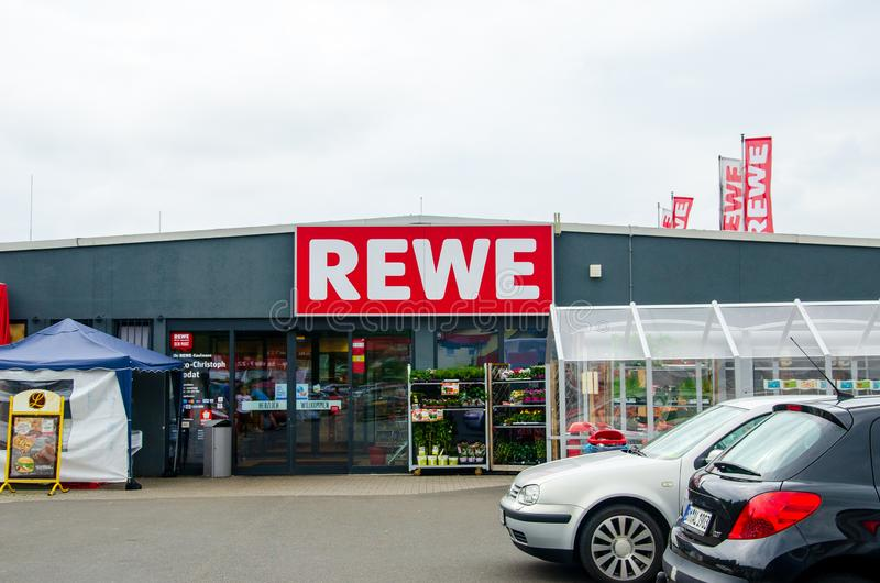 Blankenheim, Germany - July 27, 2019: REWE supermarket. The REWE Group is a German diversified retail and tourism co-operative. Group based in Cologne, Germany stock photos