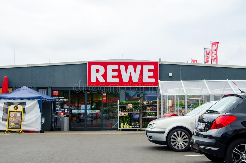 Blankenheim, Germany - July 27, 2019: REWE supermarket. The REWE Group is a German diversified retail and tourism co-operative. Group based in Cologne, Germany royalty free stock image