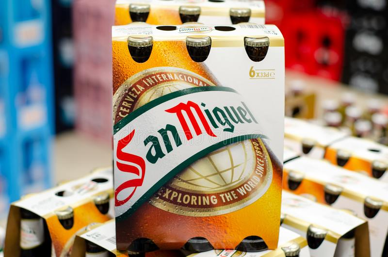 Blankenheim, Germany - July 27, 2019: San Miguel Beer for sale in the store royalty free stock image