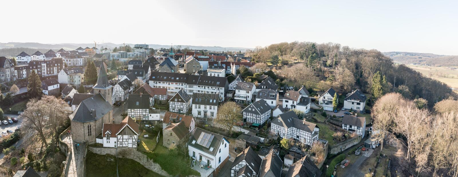 Blankenstein, GERMANY - FEBRUARY 15, 2017: From top of the tower of Burg Blankenstein one has a spectacular view over the historic. Town royalty free stock image