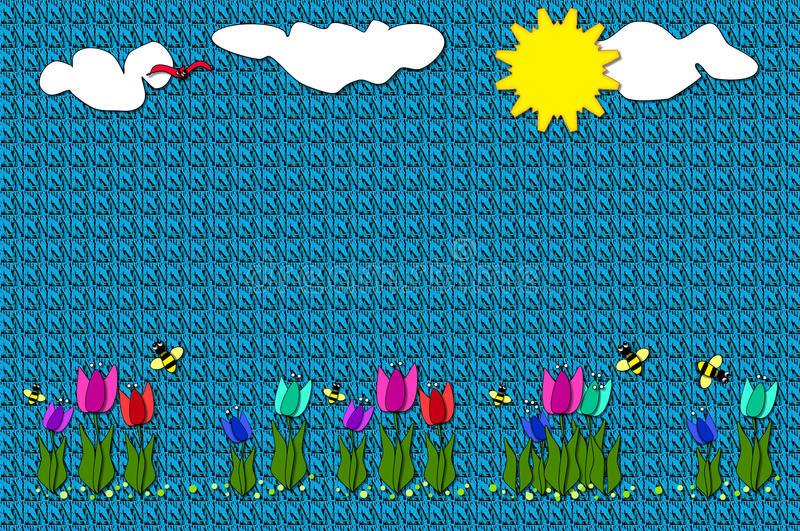 Download Blanket With Appliqued Tulips Stock Illustration - Image: 19840379