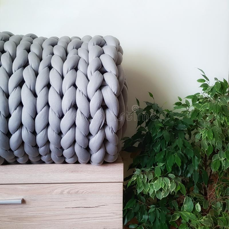 A blanket of giant handknit yarn lies on a chest of drawers next to a ficus royalty free stock photography
