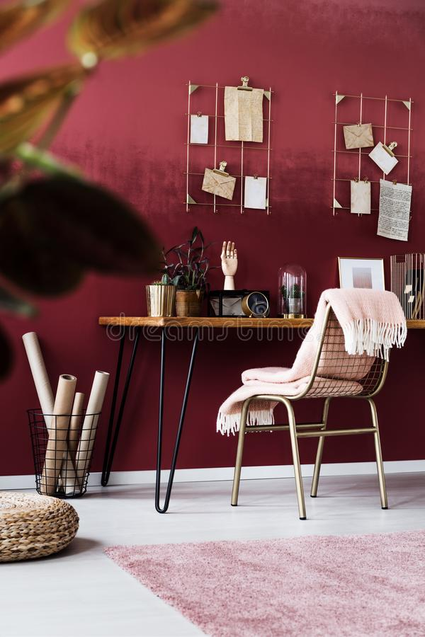 Download Feminine Pink Home Office Interior Stock Photo   Image Of  Burgundy, Pink: 115038950