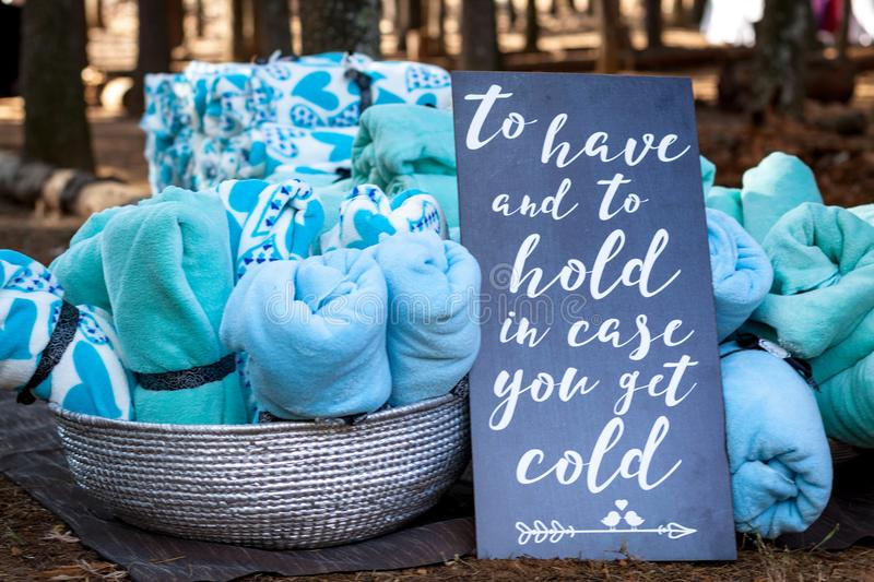 Blankets as winter wedding favors royalty free stock photos