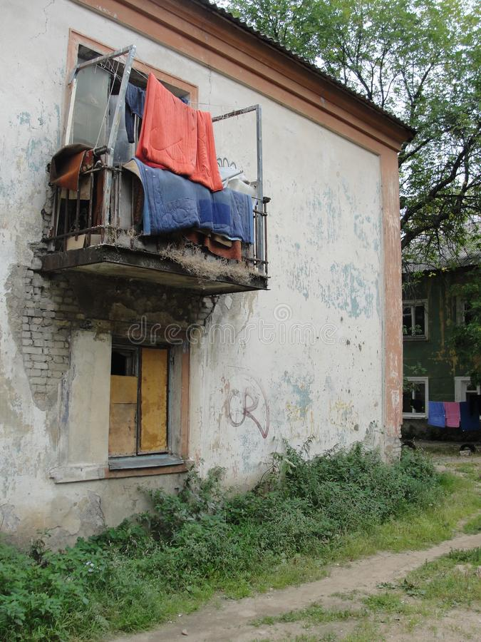 Blankets on the balcony of the poor neighborhood. Of the poor neighborhood, Russia, Yaroslavl royalty free stock photos