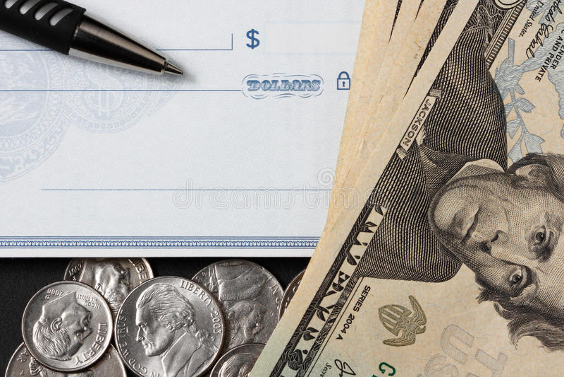 blankocheckpengarpenna arkivfoton
