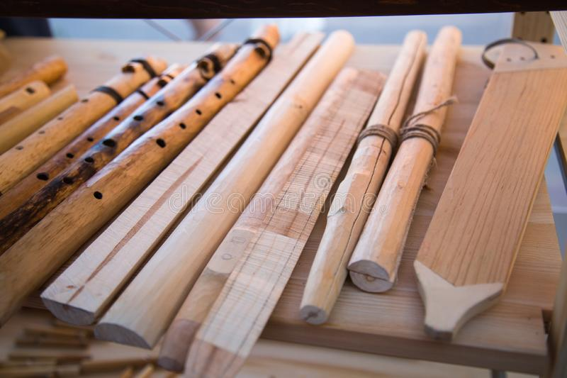 Blanks for the manufacture of the reed, zhaleyka. Folk wooden musical instruments Leisure Hobbies stock image