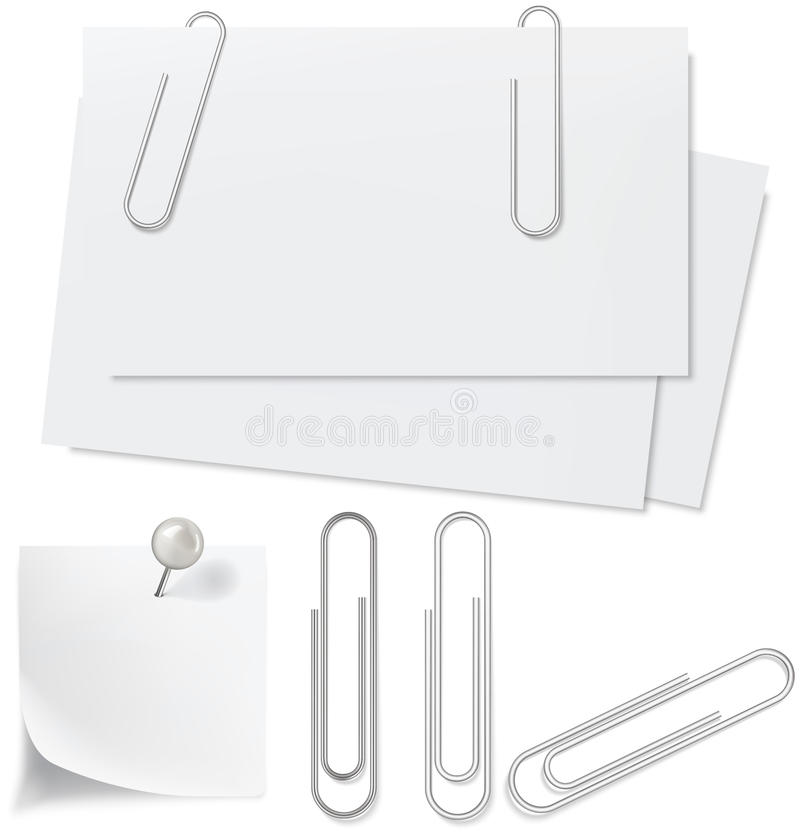 Blanks white paper, pin and clip vector illustration