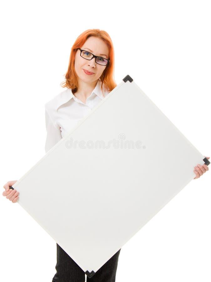 blankt affärskvinnasignboardbarn arkivbilder
