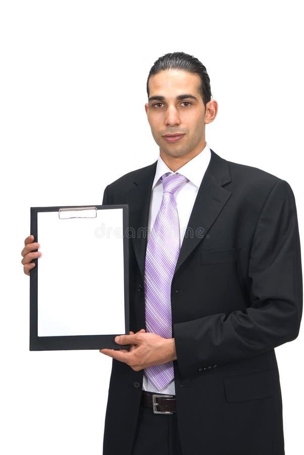 blankt affärsmanholdingpapper royaltyfria bilder