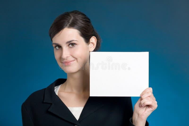 blankt barn för sekreterare för affärskvinnakortanmärkning royaltyfri fotografi