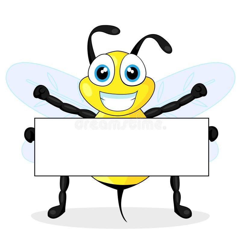 blankt gulligt holdingtecken för bi stock illustrationer