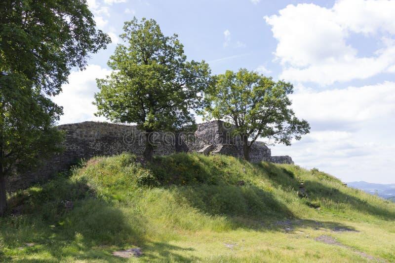 Blansko, Czechia castle ruin on hill royalty free stock images