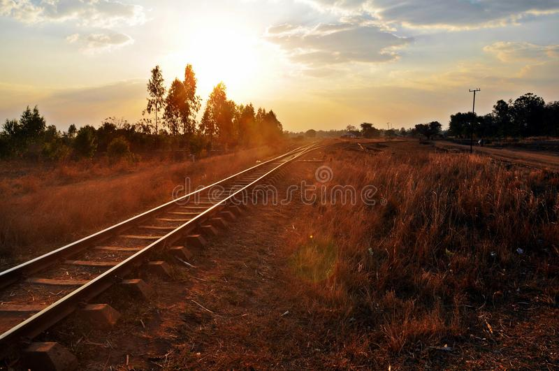 Blantyre (Malawi) to Nampula (Mozambique) Railroad. Early morning photo of the railroad running from Blantyre in Malawi to Nampula in Mozambique stock images