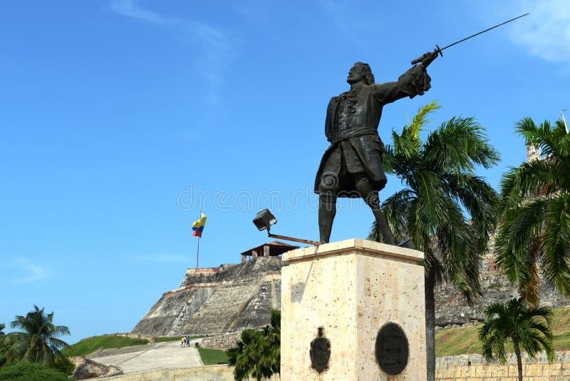 Blas de Leso Monumento i Cartagena arkivbilder