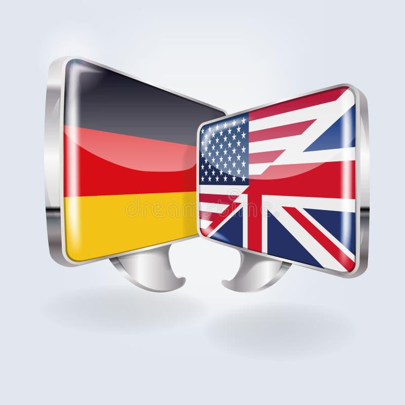 Blasen auf Deutsch, Englisch und Amerikaner lizenzfreie abbildung