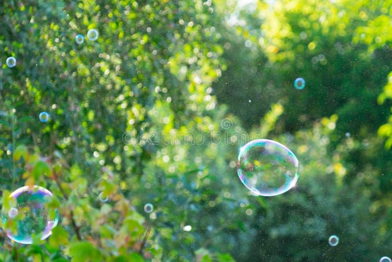 Blasen schwimmen in die Luft Platz für Ihren Text stockfotografie