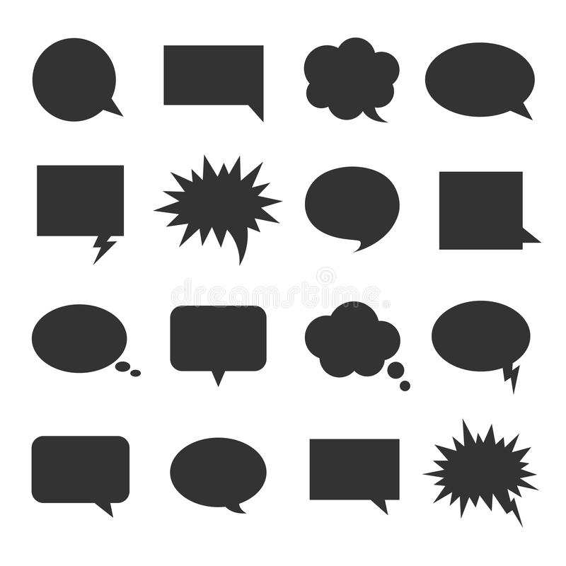 Blasengesprächs-Ikonensatz lizenzfreie abbildung